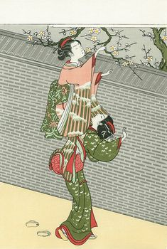 梅折る美人|鈴木春信|浮世絵のアダチ版画オンラインストア