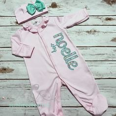 0f66a238b2b5 Newborn Footed Sleeper - Baby Girl Gown - Newborn Clothes - Baby Girl Bring  Home Outfit - Baby Pink Sleeper With Bow - Baby Name Gown