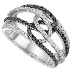 3/4 Carat Black and White Diamond Ring in 14 Karat White Gold, Jewelry
