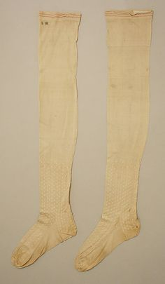Silk stockings, American, 1812. Part of an ensemble with silk dress with net sleeves and pink leather slippers.