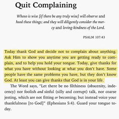 Quit Complaining. Amen...Thank you God. Mildred Williams