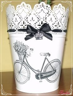 Mi Pequeño Rincón: maceteros ikea/ purchased a set of 3 sizes last visit to… Tin Can Crafts, Diy And Crafts, Arts And Crafts, Craft Projects, Projects To Try, Recycle Cans, Repurpose, Decoupage Furniture, Decoupage Ideas