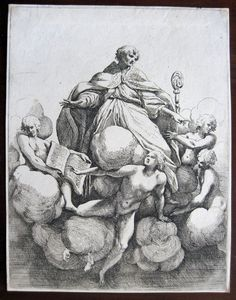 Sisto Rosa Badalocchio: Heiliger Bischof auf Wolken Original-Radierung um 1620