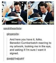 He is so amazing << Proof that Benedict Cumberbatch is the nicest guy<<um how about Tom Hiddleston??