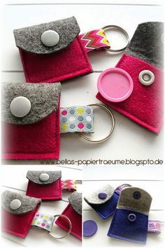 Felt Case, Felt Pouch, Diy Coin Purse, Sewing Crafts, Sewing Projects, Scrap Busters, Diy Keychain, Creation Couture, Leather Gifts