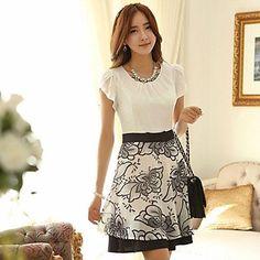 vestido de la cintura de la manga corta floral coreano de las mujeres – USD $ 34.29