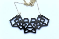 Black Geometric Necklace Laser Cut Acrylic by TaraMacJewellery, $22.50