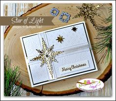"""Star of Light, Starlight Thinlits, Fancy Frost Specialty DSP, Gold Foil, Whisper White 5/8"""" Organza Ribbon, Rhinestone, Gold embossing powder"""
