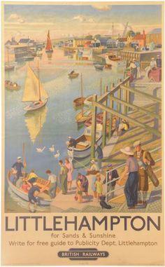 SUSSEX - Littlehampton Vintage British Railways Ad Travel Poster