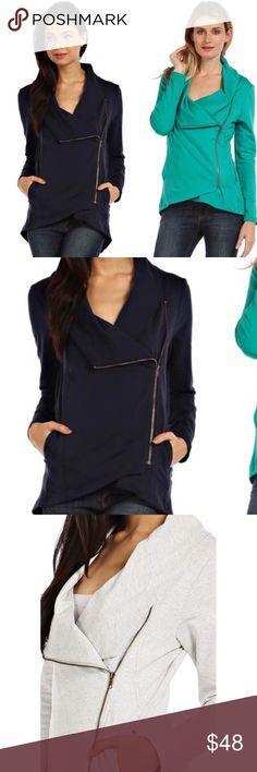 Asymmetrical Zipper Jacket Super soft jacket. Slight hi lo. Only navy is left! Kyoot Klothing Jackets & Coats