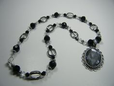 Black and Silver Lace Necklace by KlutterKitten on Etsy, $40.00