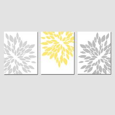 Modern Abstract Painterly Floral  Set of Three Large by Tessyla, $59.50