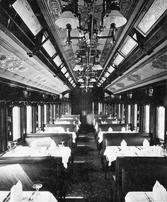 Grand Trunk Railway dining car interior.