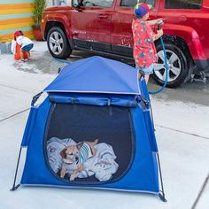Dog Fort, Cool Kids Club, Pop Up Tent, Playpen, Marine Blue, California Beach, Pet Puppy, How To Do Yoga, Small Dogs