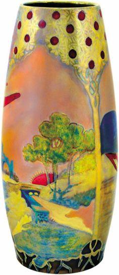 Zsolnay panorámaképes váza