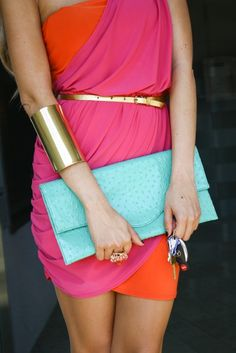 pink and orange color block