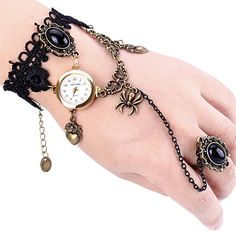 $4.94 Superb Quartz Watch with Ring Round Dial Chain Watch Band for Women