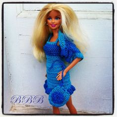 Barbie Clothes Crochet Ensemble Outfit Blue Bolero Shrug Cardigan Spaghetti Strap Sundress Purse
