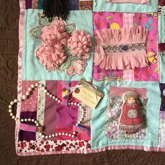 Sensory Blanket Fidget Quilt Pink Pearls & Mint