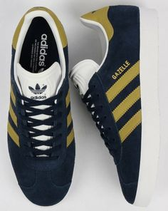 Nice new Gazelle colourway in navy with gold     trim Deportes 3b5bbb2df3d