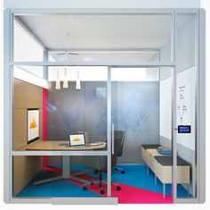 """""""Mind Share,"""" A Susan Cain Quiet Space by @steelcase! Just because the room is private and quiet, that doesn't mean that the colours have to be! We love the bright flooring and clever design."""