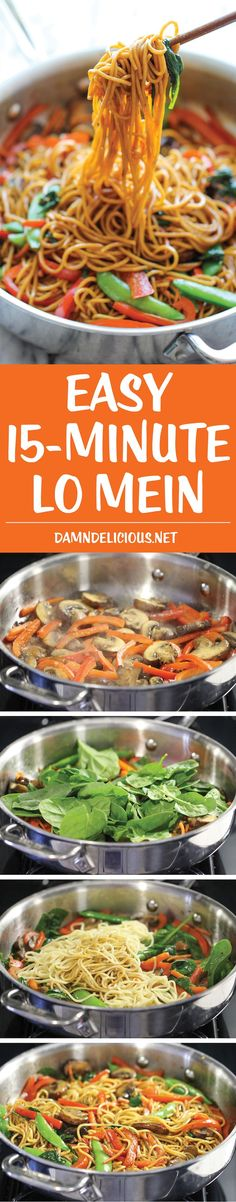 Easy Lo Mein - The easiest lo mein you will ever make in 15 minutes from start to finish. It is so much quicker, tastier and healthier than take-out!