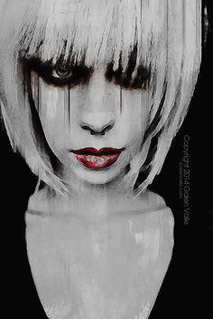 Lyric - Gothic Digital Mixed Media Portrait by Galen Valle