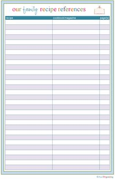 :* L - Lovely Family Recipe Reference Sheet/Organizer (from IHeart Organizing: Free Printables) Binder Organization, Household Organization, Recipe Organization, Organization Ideas, Printable Organization, Organizing Tips, Organising, Printable Planner, Free Printables