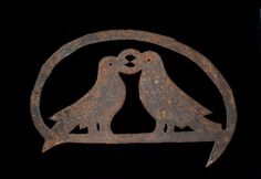 antique hand-cut tin Lovebirds quilt pattern template Pennsylvania AAFA #Americana #unknown