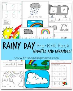 FREE Rainy Day Pre-K/K Pack {Updated and Expanded} with a NEW emergent reader and pages of hands-on learning Preschool Themes, Preschool Printables, Preschool Kindergarten, Preschool Learning, Free Preschool, Preschool Curriculum, Printable Crafts, Free Printable, Pre K Activities