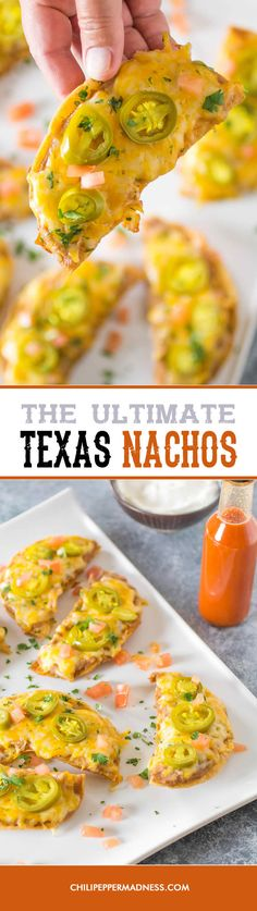 The Ultimate Texas Nachos - Make your nachos Texas style with this recipe, with crunchy corn tortillas, refried beans, melty cheese and pickled jalapeno peppers. This is the ultimate snack food.