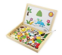 Animals Magnetic Drawing Board Black Double Use Toy Kids Draw Play Bright Colour #Eshowy