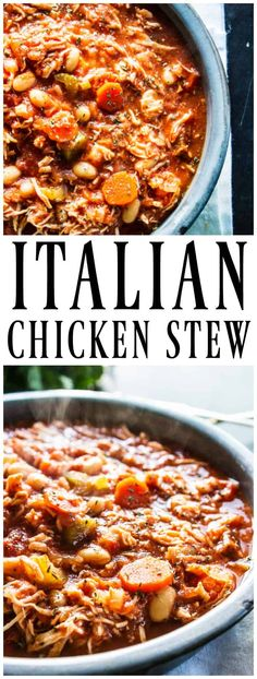 Deliciously simple slow cooker ITALIAN CHICKEN STEW is comforting and full of flavor. Loaded with veggies and chicken it's hearty making a perfect dinner.