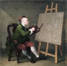 William Hogarth, Hogarth Painting the Comic Muse, c. 1758 WikiPaintings.org