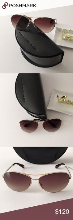 Marc by Marc Jacobs Aviator Sunglasses Beautiful Authentic Marc by Marc Jacobs aviator sunglasses.  • MMJ 119/S 0Q4G/02  • size 59-14-125 • metal frame  • brown and gold frame color • brown gradient lens color Marc By Marc Jacobs Accessories Sunglasses