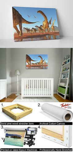 Arts And Crafts: Argentinosaurus Dinosaur Children Kids Wall Art Gallery Wrapped Canvas Print BUY IT NOW ONLY: $44.95