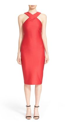 'Erskine' Snake Jacquard Midi Sheath Dress...Get it: www.teelieturner.com  Shimmy through the holiday party gauntlet with ease in this sleek crossover halter sheath dress, embossed with subtle snakeskin texture. #partydress