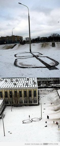 Art from a street lamp and tracks in the snow.