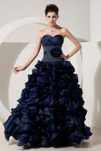 Beading and Pick-ups Navy Blue Evening Dresses For Celebrity