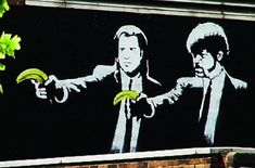 Banksy's take on Tarantino's cult movie was well known in the area and amongst collectors of his work. Transport for London ordered it to be painted over and have a strict policy against 'graffiti'. The authority released a statement saying that they employed professional cleaners, not professional art critics.    Read more: http://www.toptenz.net/top-10-images-by-street-artist-banksy.php#ixzz27WJ64RwR  Read more at http://www.toptenz.net/top-10-images-by-street-artist-banksy.