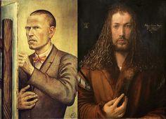 1. Otto Dix, Autorretrato, 1926. 2. Alberto Durero, Autorretrato, 1500.