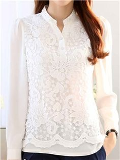 ericdress delgado blusas de encaje de fricción Mom Outfits, Winter Outfits, White Salwar Suit, Look Fashion, Womens Fashion, Smart Outfit, Lace Outfit, Cheap Blouses, Blouse Designs