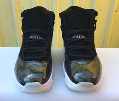 "80e69f43988 2017 Cheap Air Jordan 11s ""Barons"" Black Metallic Silver-White"