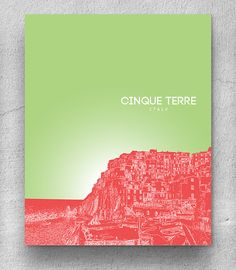 Cinque Terre Italy Skyline Poster / Travel Destination Art Poster / Any City or Landmark