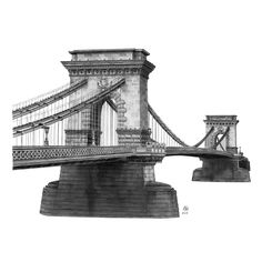 15-Chain-Bridge-Budapest-Hungary-Elizabeth-Mishanina-Architecture-Immaculate-Drawing-Technique-www-designstack-co