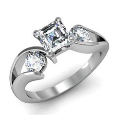 1.5 Ct Asscher Cut Diamond Luscious Trio Stone Engagement Ring VS1 GIA Certified 14K