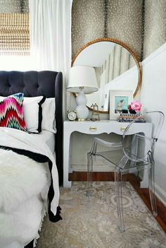 Loving the side table/desk, mirror, ghost chair look