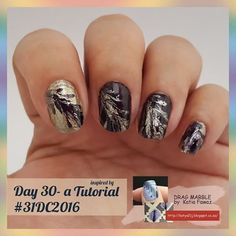 Day 30 - inspired by a tutorial #31dc2016 --------------------- - - - -  I chose a drag marble technique done on a mat.  The tutorial I followed was done by @nailsandtowel  Katia Fawaz. --------------------------- - - - - -  Used #colorclub - catwalk queen ,  #littlethings - gold and dangerous . 💅💅💅💅💅💅💅💅 All artwork was done freehand. 😊😊😊😊😊😊😊😊😆😆😆😆 #mahnails #nailsoftheday #nailart  #nails #glitter #challenge #beauty #nag_repost #instanails #instacute  #instavinyl #durban…