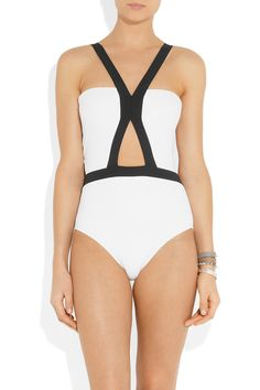 LOVE this cutout one-piece | JETS by Jessika Allen White Label|Distinct two-tone molded swimsuit | $325