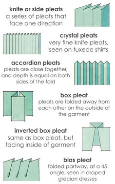 A visual glossary of Pleats More Visual Glossaries (for Her): Backpacks / Bags / Bobby Pins / Boots / Bra Types / Hats / Belt knots / Chain Types / Coats / Collars / Darts / Dress Shapes / Dress...